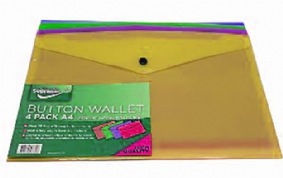 Supreme Button Wallet Pack of 4 A4 Bright Neon Colours